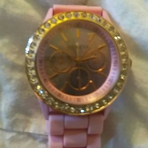 Geneva pink silicone watch